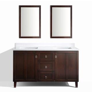 Brown Finish 60-inch Phoenix White Quartz Top Double Sink Bathroom Vanity with 2 Mirrors