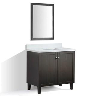 Dark Brown Finish Phoenix White Quartz Top 36-inch Single Sink Bathroom Vanity with Mirror