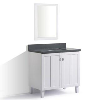 White Finish Grey Quartz Top 36-inch Single Sink Bathroom Vanity with Mirror