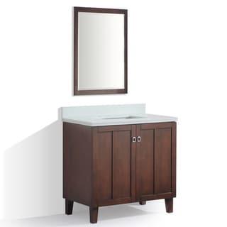 Brown Finish Phoenix White Quartz Top 36-inch Single Sink Bathroom Vanity with Mirror