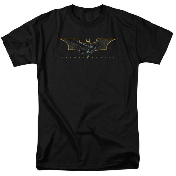 Batman Begins/Coming Through Short Sleeve Adult T-Shirt 18/1 in Black
