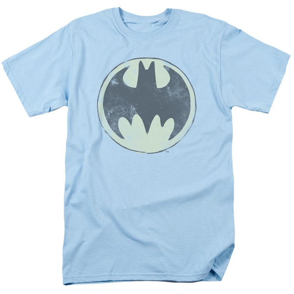 Batman/Old Time Logo Short Sleeve Adult T-Shirt 18/1 in Light Blue