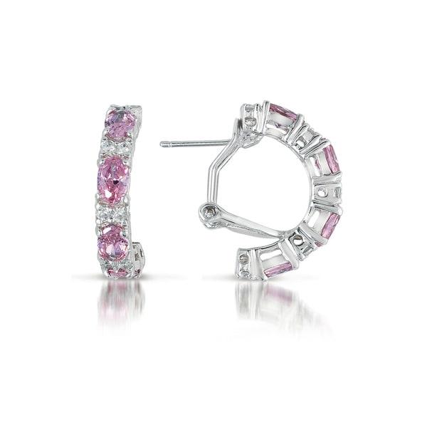Collette Z Sterling Silver Pink Cubic Zirconia Petite Hoop Earrings