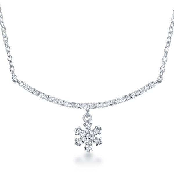 La Preciosa Sterling Silver Cubic Zirconia Bar Necklace with Snowflake or Heart Pendant