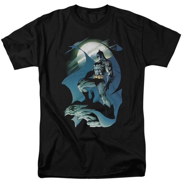 Batman/Glow Of The Moon Short Sleeve Adult T-Shirt 18/1 in Black