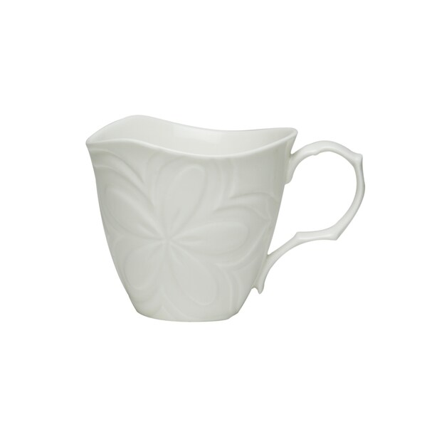 Clematis White Porcelain 10-ounce Mugs (Set of 6)