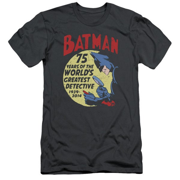 Batman/Detective 75 Short Sleeve Adult T-Shirt 30/1 in Charcoal