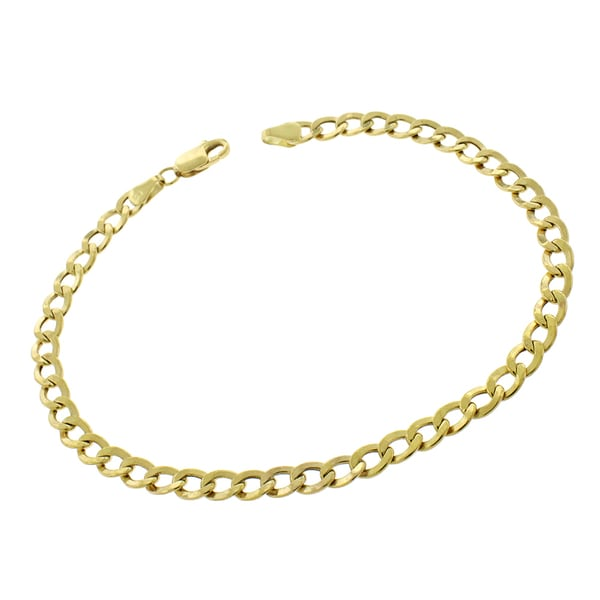 10k Yellow Gold 4.5mm Hollow Cuban Curb Link Bracelet Chain