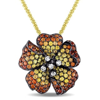 Miadora Signature Collection 18k Yellow Gold Yellow and Orange Sapphire and 1/8ct TDW Diamond Floral Necklace (G-H, SI1-SI2)
