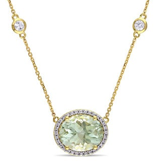 Miadora Signature Collection 14k Yellow Gold Green Amethyst White Sapphire and 1/6ct TDW Diamond Station Necklace (G-H,SI1-SI2)
