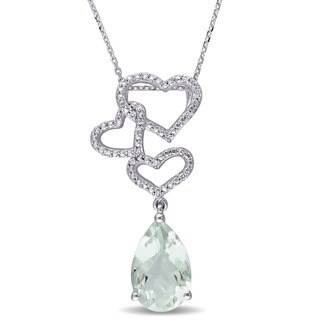 Miadora Signature Collection 14k White Gold Green Amethyst and 1/10ct TDW Diamond Linked Heart Drop Necklace (G-H, SI1-SI2)