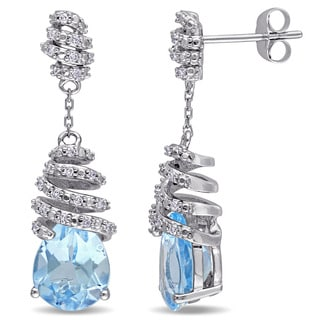 Miadora Signature Collection 14k White Gold Blue Topaz and 1/6ct TDW Diamond Swirl Drop Earrings (G-H, SI1-SI2)