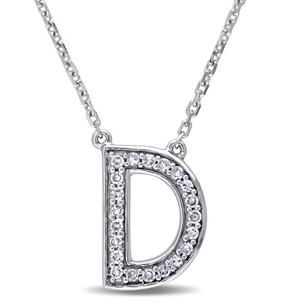 Miadora 14k White Gold 1/10ct TDW Diamond D Initial Necklace (G-H, SI1-SI2)