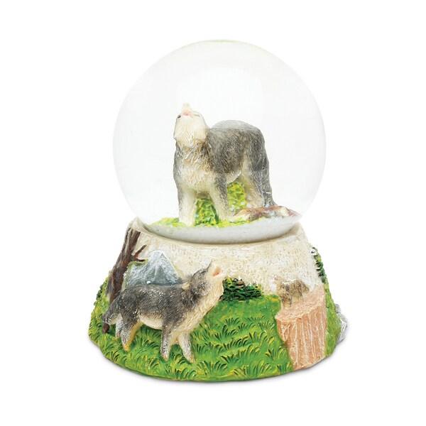 Puzzled Plastic Wolf Snow Globe