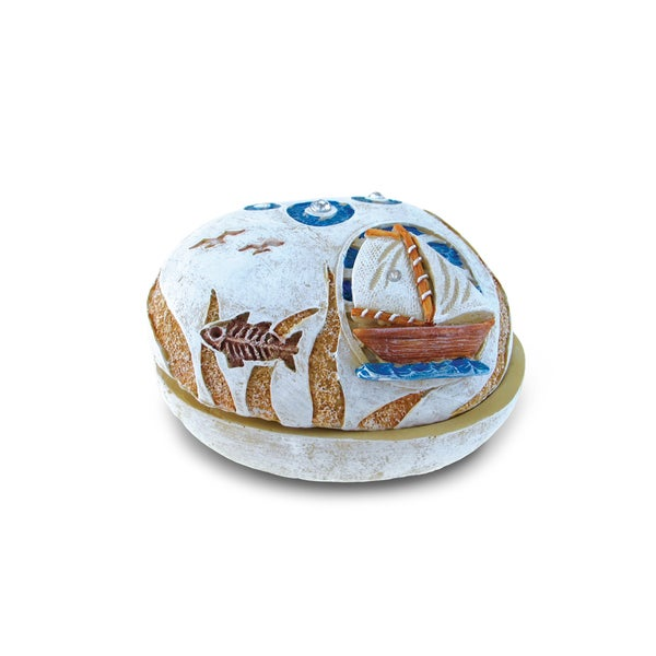 Puzzled Stone Boat Jewelry Box