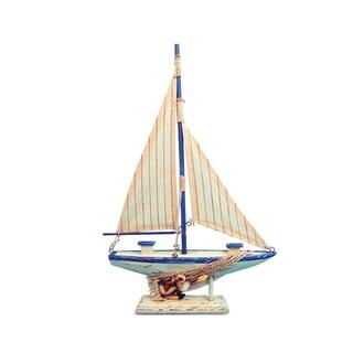 Puzzled Inc Nautical Decor Collection Cool Blue Plastic Sailboat Figurine
