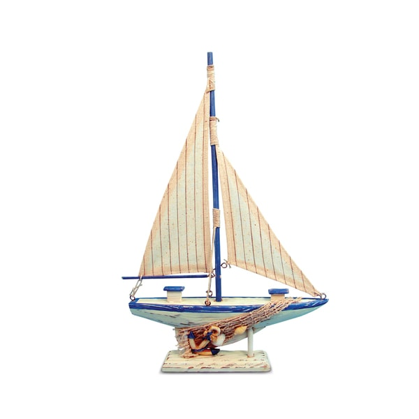 Puzzled Inc Nautical Decor Collection Cool Blue Plastic Sailboat Figurine