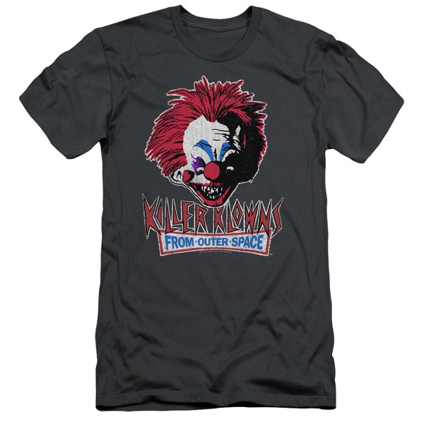 Killer Klowns From Outer Space/Rough Clown Short Sleeve Adult T-Shirt 30/1 in Charcoal