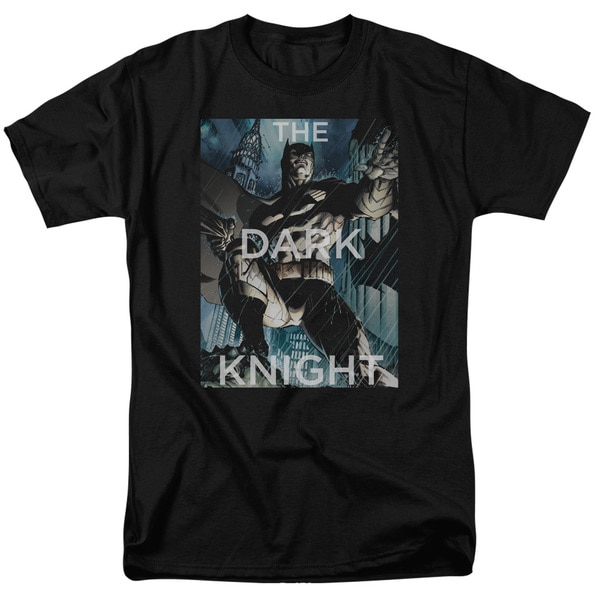Batman/Fighting The Storm Short Sleeve Adult T-Shirt 18/1 in Black