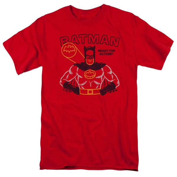 Batman/Ready For Action Short Sleeve Adult T-Shirt 18/1 in Red