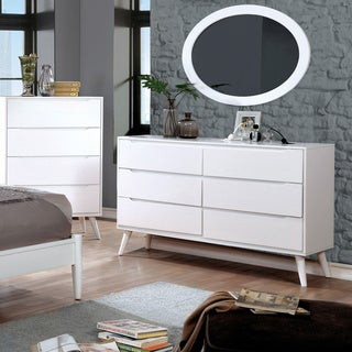 Furniture of America Corrine 2-piece Mid-Century Modern Dresser and Oval Mirror Set