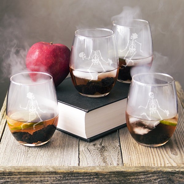Dancing Skeletons 21-ounce Stemless Wine Glasses (Pack of 4)