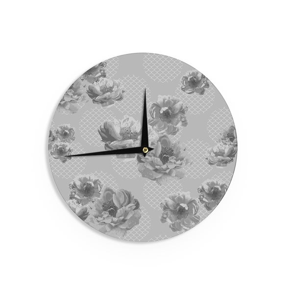 KESS InHouse Pellerina Design 'Lace Peony in Gray' Grey Floral Wall Clock
