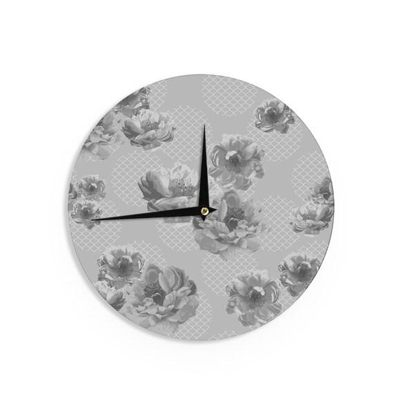 KESS InHouse Pellerina Design 'Lace Peony in Gray' Grey Floral Wall Clock