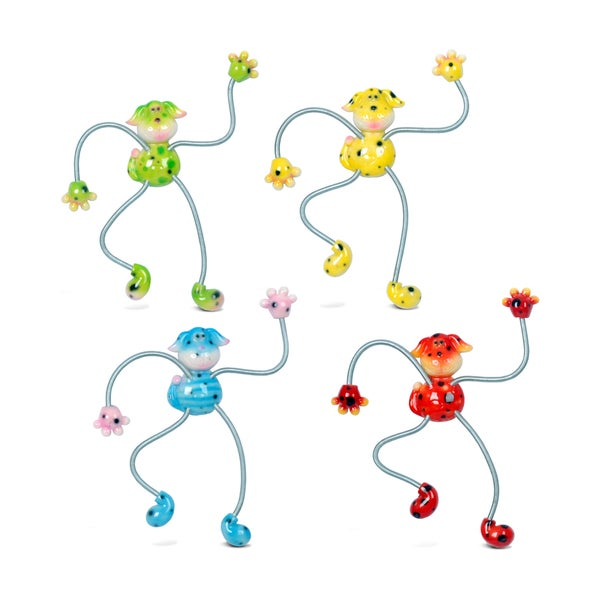Dog Multicolor Plastic Springy Magnets (Pack of 4)