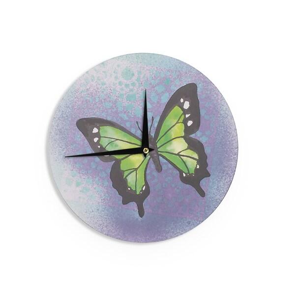 KESS InHouse Padgett Mason 'Lime Green Flutter' Purple Lavender Wall Clock