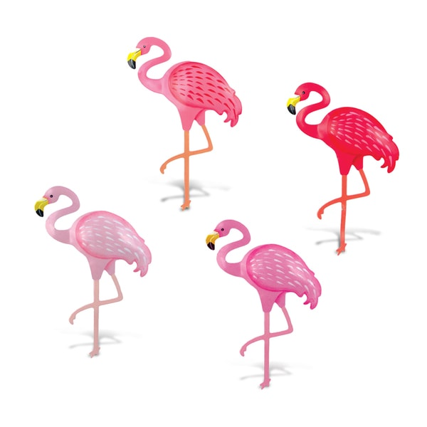 Puzzled Pink Metal Flamingo Bobble Magnet Set