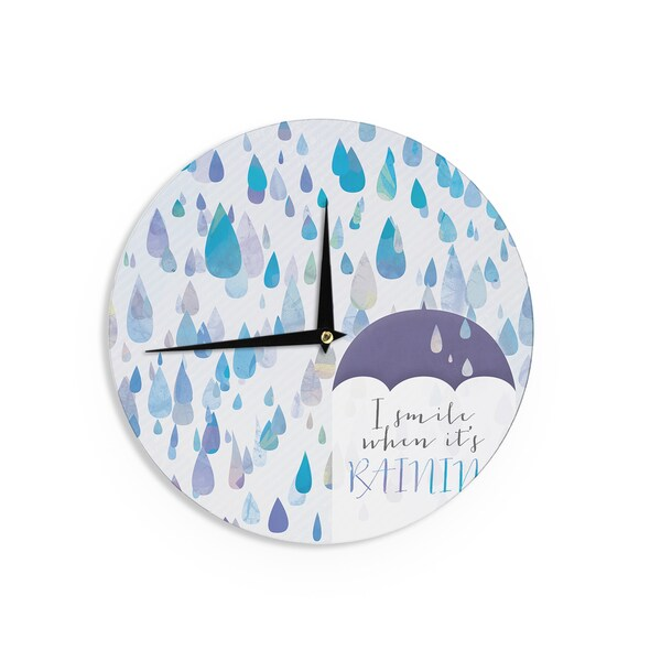 KESS InHouse Noonday Design 'I Smile When Its Raining' Blue Purple Wall Clock