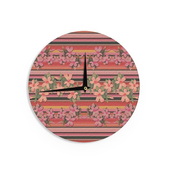 KESS InHouse Nina May 'Peach Hibiscus Stripe' Pink Orange Wall Clock