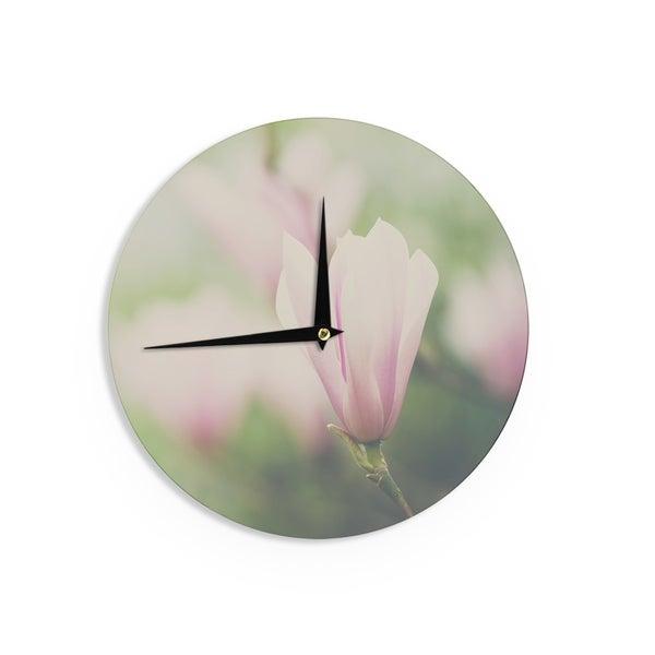 KESS InHouse Laura Evans 'A Pink Magnolia' Pink Green Wall Clock