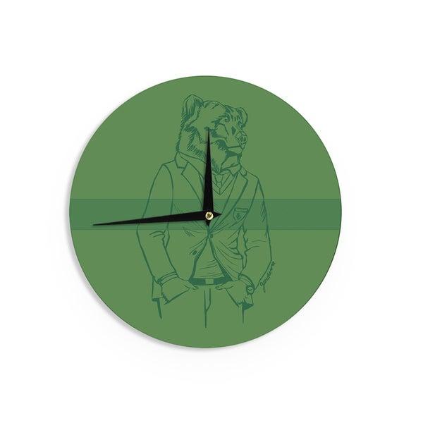 KESS InHouseGeordanna Cordero-Fields 'Dapper Bear Green' Emerald Animal Wall Clock