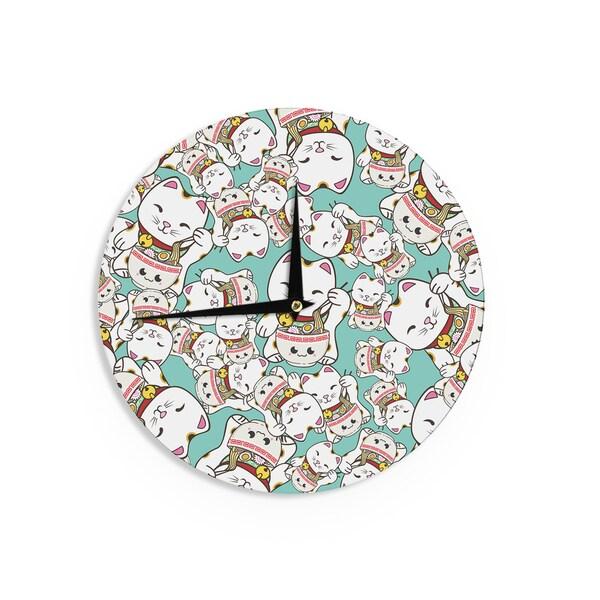 KESS InHouse Juan Paolo 'Ramen Cats' Teal White Wall Clock