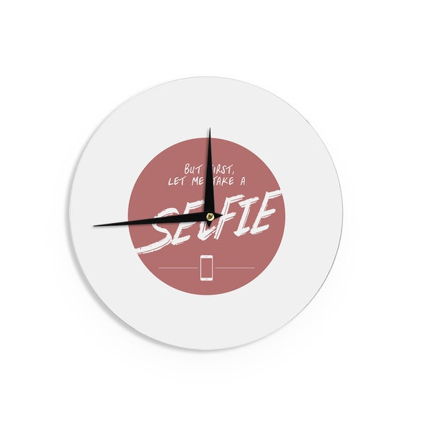 KESS InHouse Juan Paolo 'Let Me Take A Selfie' Red White Wall Clock