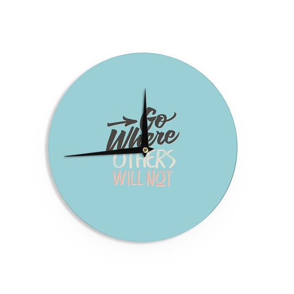 KESS InHouse Juan Paolo 'Go Where Others Will Not' Vintage Blue Wall Clock