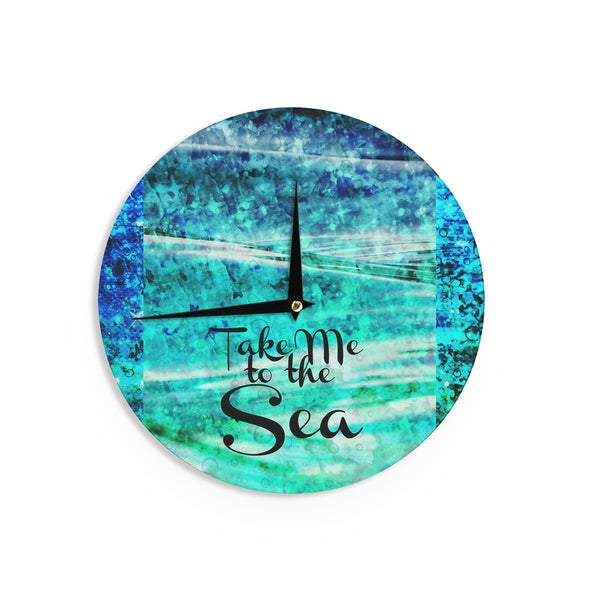 KESS InHouse Ebi Emporium 'Take Me to the Sea' Aqua Glitter Wall Clock