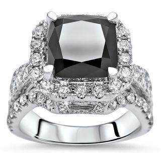 Noori 18k Gold 5 ct tdw Cushion Cut Black Diamond Engagement Ring (SI1-SI2/F-G)
