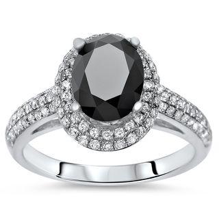 Noori 18k Gold 2 1/10 tdw Oval Black Diamond Engagement Ring (SI1-SI2/G-H)