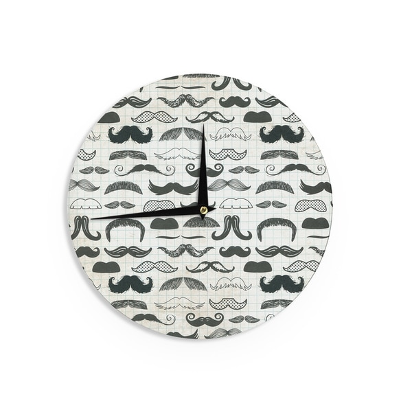KESS InHouseHeidi Jennings 'Stached' Gray Black Wall Clock