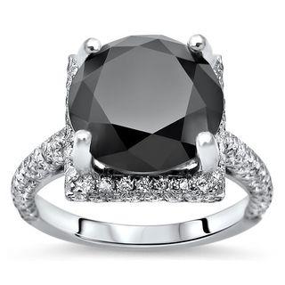 Noori 18k Gold 6 1/2 tdw Round Black Diamond Engagement Ring (SI1-SI2/G-H)