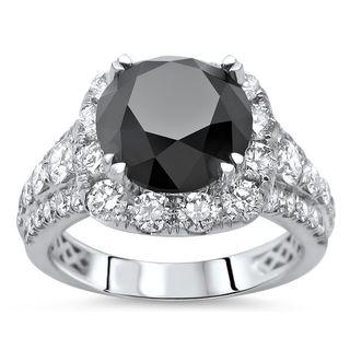 Noori 18k Gold 5 1/5 tdw Round Black Diamond Engagement Ring (SI1-SI2/F-G)