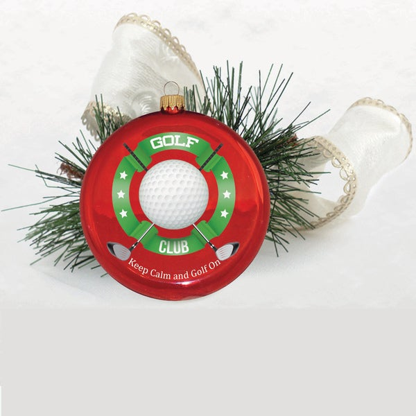 Glass 3.5-inch Disc Ornament with 'Keep Calm and Golf On' Printed Message