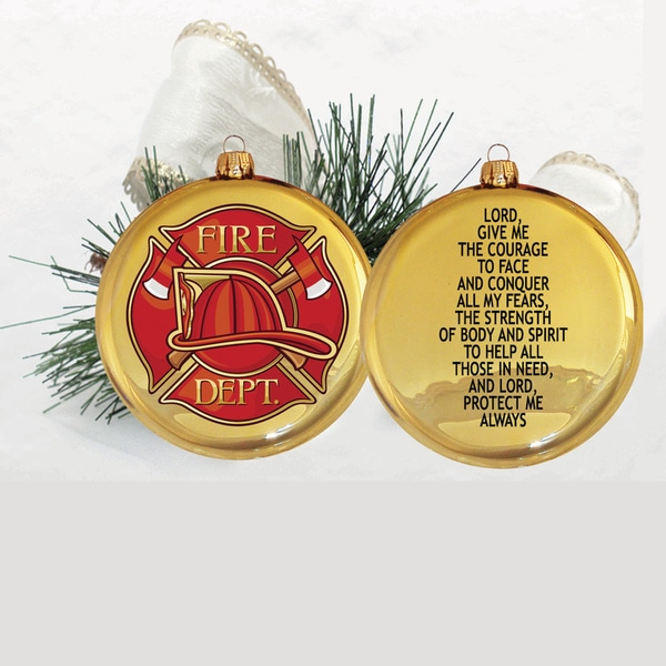 Glass 3.5-inch Disc Ornament with Fireman's Prayer