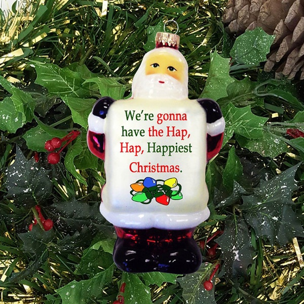 Happiest Christmas Sign 5-inch Glass Santa Claus Ornament