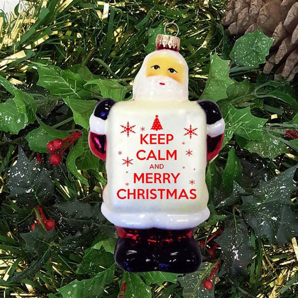 5-inch Glass Santa Claus Ornament with 'Keep Calm and Merry Christmas' Sign