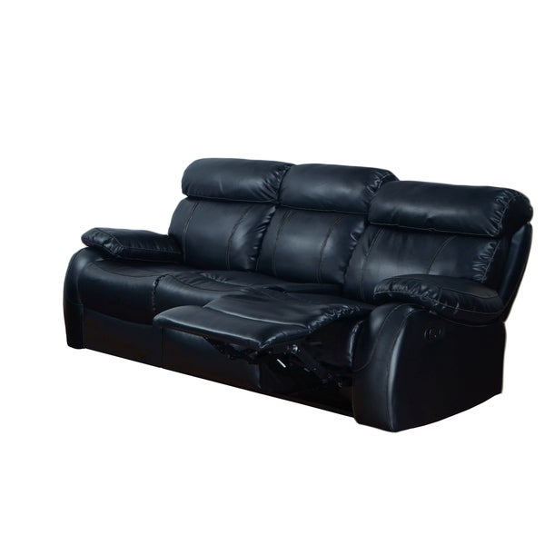Barclay Black Faux Leather Reclining Sofa