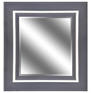 Silver Woodgrain 31-inch x 37-inch Mirror with 5-inch Frame